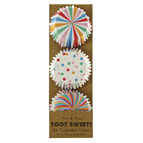 Mini Cupcake Cases: Toot Sweet Spots, Stripes & Swirls - Pack of 96