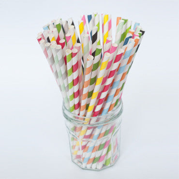 Straws: Diagonal Stripes - Packs of 25