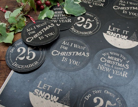 Gift Tags/Stickers: Black & Kraft Round Christmas Stickers - East of India - Sheet of 8