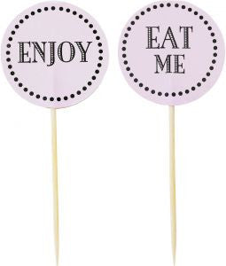 Miss Etoile Cake Toppers: Enjoy & Eat Me in Pink or White