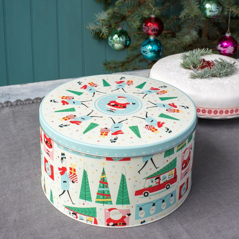 Christmas Cake Tin: Round Festive Family 50's Design