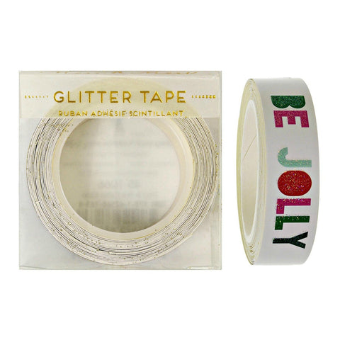 Tape: White with Coloured Glittery Christmas Slogans