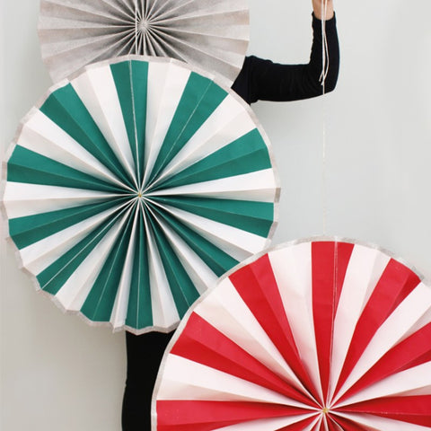 Giant Pinwheel Decorations: Set of 3 - Red, Green & White Stripes & Silver