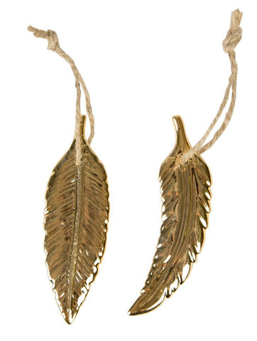 Gold Feather Porcelain Hanging Decorations: Set of 2