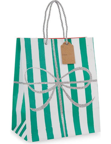 Christmas Gift Bag: Medium Green & White Striped Meri Meri All Wrapped Up