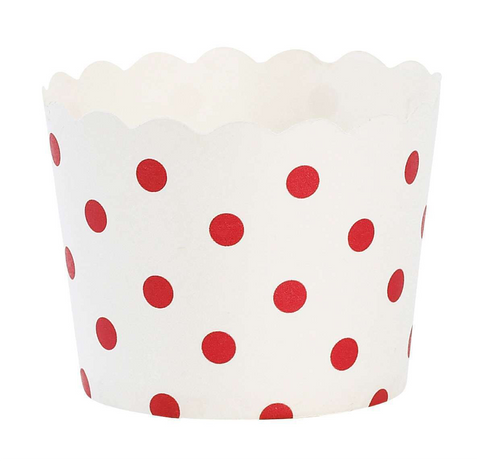 Paper Eskimo Baking Cups: Scalloped White with Red Polka Dots