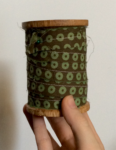 Green and Brown Ring Pattern Cotton Ribbon