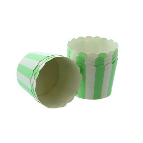 Baking Cups: Scalloped Green and White Stripes: Pack of 25