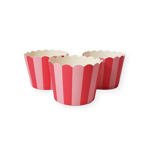 Baking Cups: Scalloped Pink Striped: Pack of 20