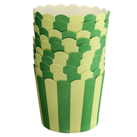 Baking Cups: Scalloped Green Striped: Pack of 20