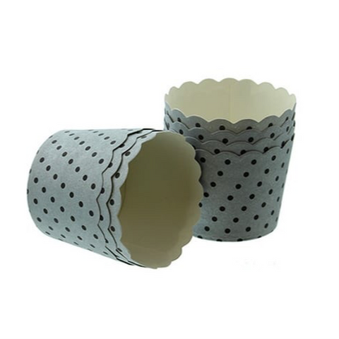 Baking Cups: Scalloped Silver with Black Spots: Pack of 25