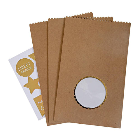 Kraft Treat/Party Bags with Window & Stickers: Pack of 8