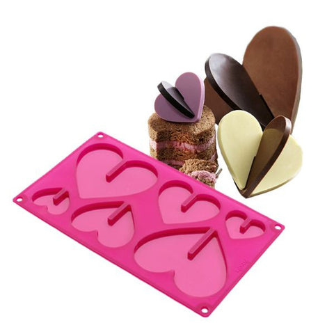 Silicone Mould: 3D Heart Shape - 3D Chocolates or Lollipops