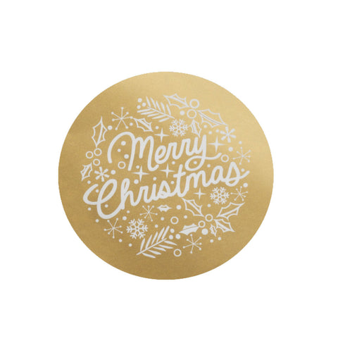 Large Stickers: Merry Christmas - Gold - Pack of 5