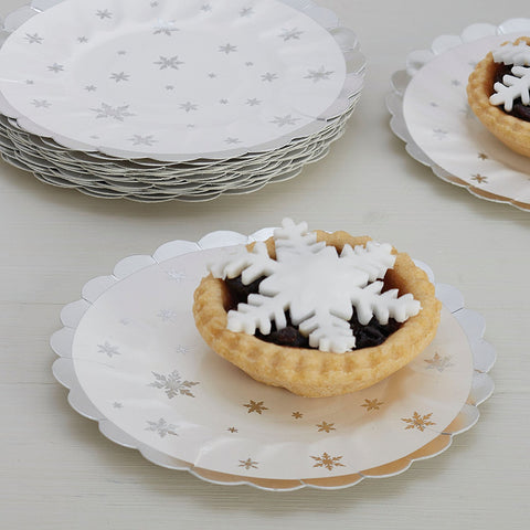 Mince Pie Plates: Silver with White Snowflakes - Pack of 8