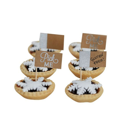 Mince Pie, Canape or Cupcake Sticks: 'Pick Me' or write your own message - Silver & Kraft - Pack of 12