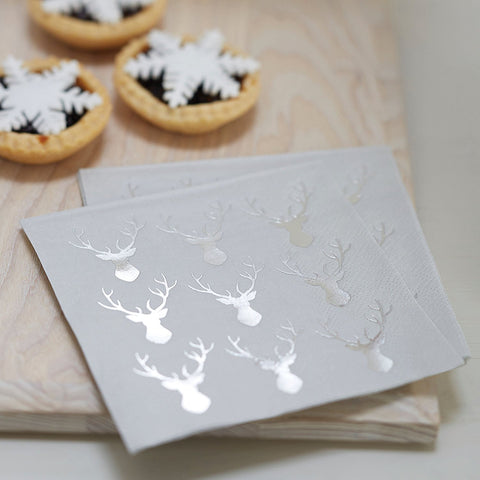 Mini Silver Reindeer Cocktail Napkins