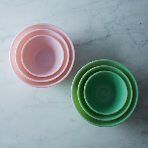 Milk Glass Mixing Bowls: Set of 3: Pink