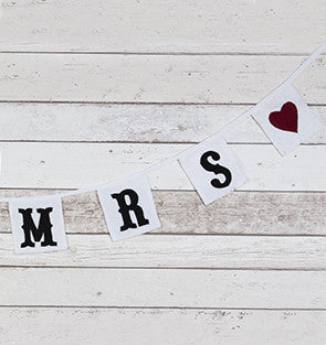 Bunting: Mrs & Mrs Red Hearts Square - Rustic Wedding Style