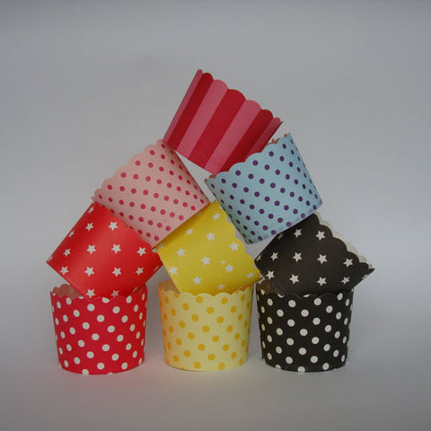 Scallop Edge Baking/Muffin Cups: Large - Stripes, Spots & Stars: Pack of 20