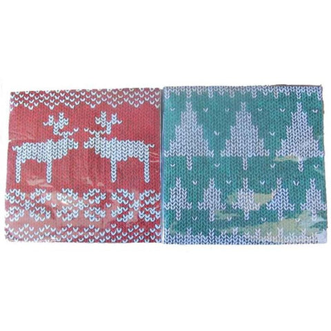 Nordic Knit Christmas Napkins: Red Reindeer or Green Tree