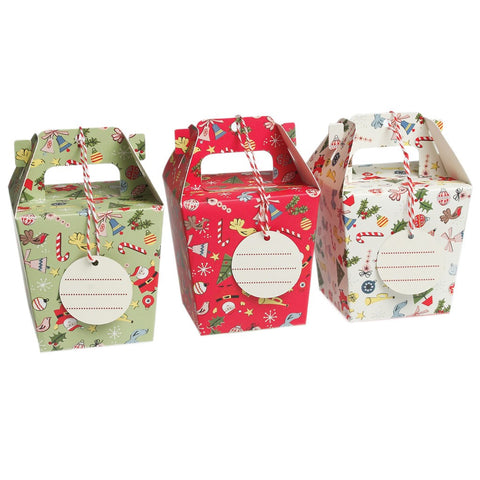 Christmas Panettone Boxes with Tags & String: Set of 3