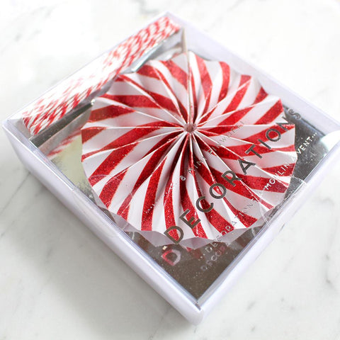 Mini Pinwheel Christmas Decorations - Pack of 8