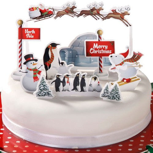 Christmas Cake Toppers.Christmas Cake Decorations Penguin Poptops Baker And Maker