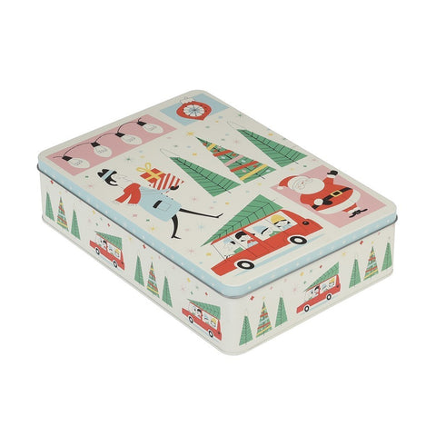 Christmas Cake or Biscuit Tin: Rectangular Festive Family 50's Design