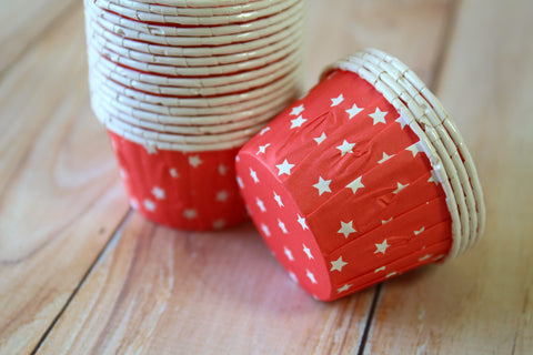 Baking Cups: Pleated Red Stars: Pack of 20