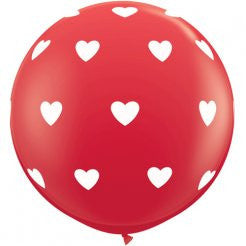 Giant 3ft/1m Balloons: Red with White Hearts