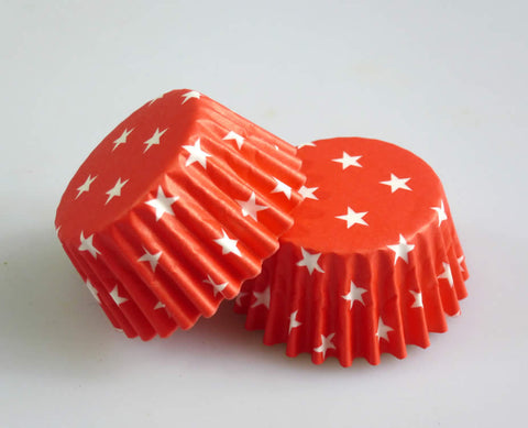 Large Cupcake/Muffin Cases: Red with White Stars