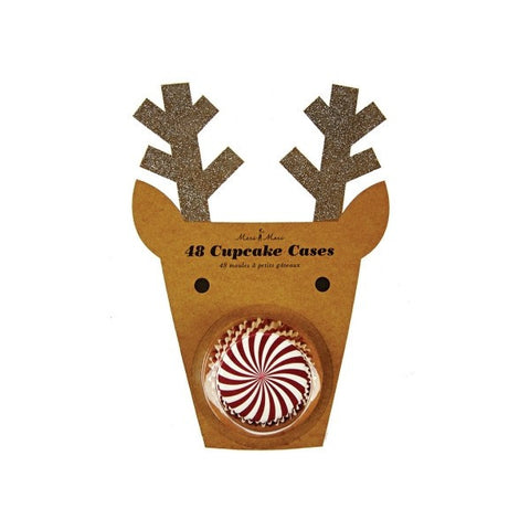 Cupcake Cases: Jingle All The Way - Red & White Stripes in a Reindeer Pack of 48