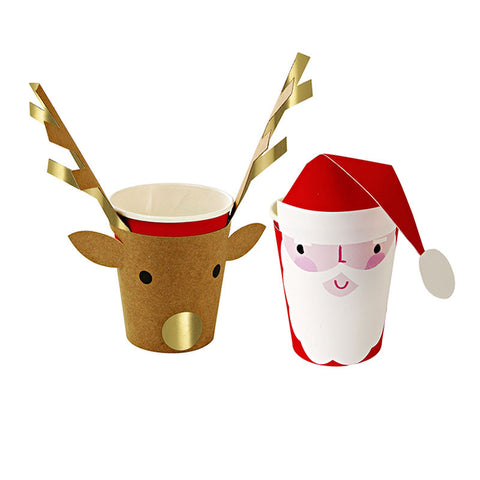 Reindeer & Santa Christmas Cups: Set of 8