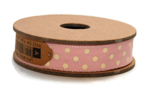 Ribbon: Pale Pink Polka Dot 3m