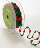 Ribbon: Red & Green Festive Pom Pom 3.5m