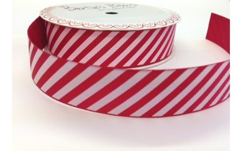 Ribbon: Candy Stripe - Red & White 22mm wide 3m Reel