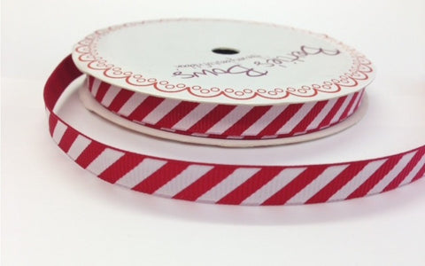 Ribbon: Candy Stripe - Red & White 9mm wide