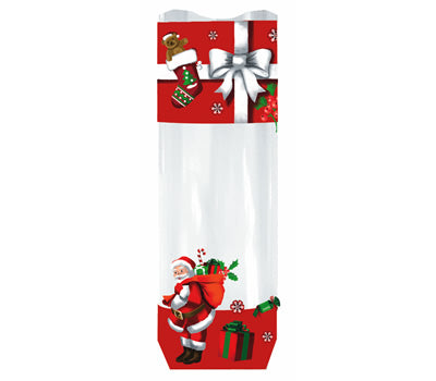 Christmas Cello Hard Bottom Bags: Santa Claus & Sack: Pack of 25