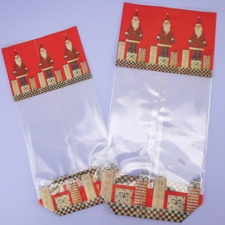Christmas Cello Hard Bottom Bags: Santa Claus & Gifts: Pack of 25