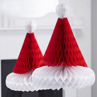 Santa Hat Honeycomb Decorations: Pack of 2