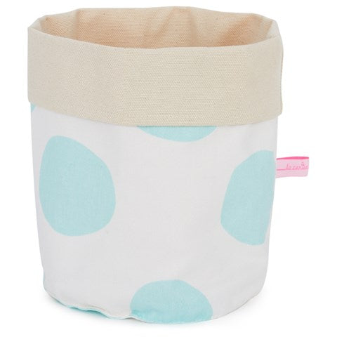 Small Fabric Storage Basket: Celeste Blue Spots - La Cerise Sur Le Gateau