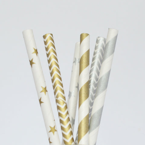 Straws: Gold & Silver - Weddings, Anniversaries & Celebrations - Packs of 25