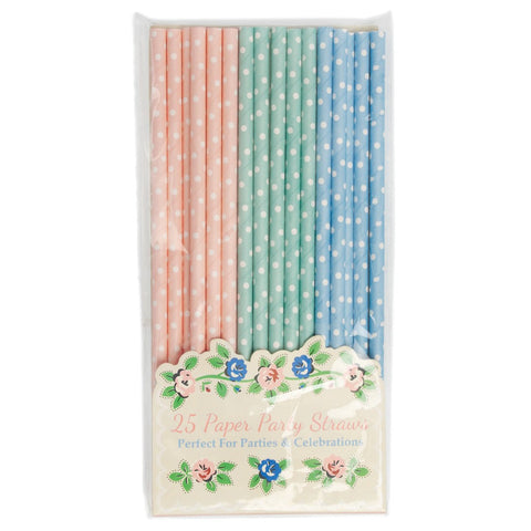 Straws: Mixed Polka Dots - Pink, Blue & Green - Packs of 25