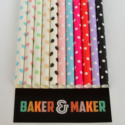 Straws: Polka Dots - Packs of 25