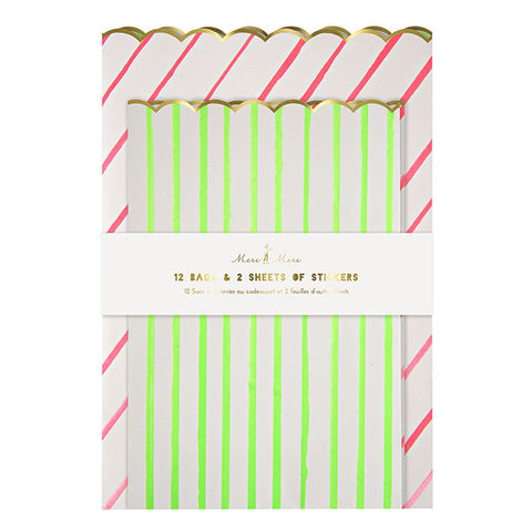 Treat Bags: Large Striped Treat Bags & Sticker Set: Pack of 8