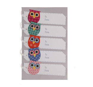 Gift Tags: Owls: Pack of 5