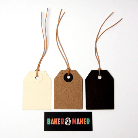 Gift Tags: Individual Small Plain Luggage Tags - Black, Cream or Kraft