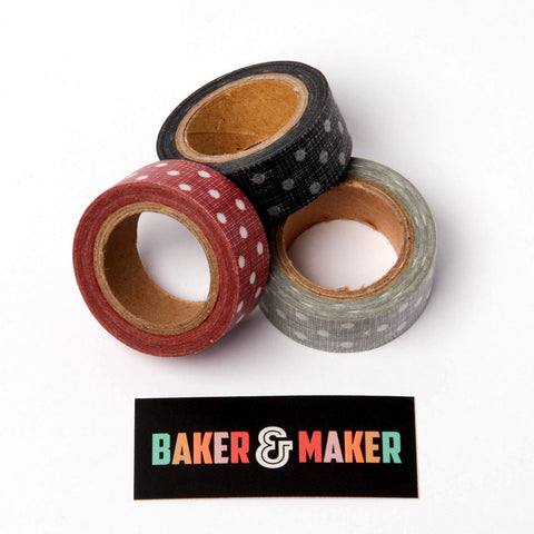Tape: Washi Style Masking Tape Polka Dot: Black, Grey or Red