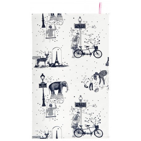 Tea Towel: Toile de Jouy Grey